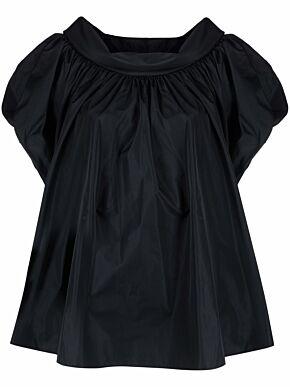 Taffeta top with wide round neckline