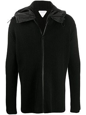 Ribbed zip-up hoodie