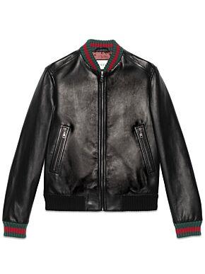 Leather jacket with web
