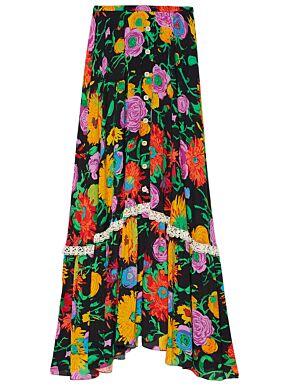 Ken scott print viscose skirt