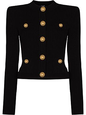 Cropped cardigan with gold-tone buttons