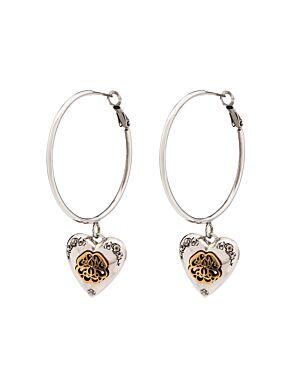 Heart locket hoop earrings