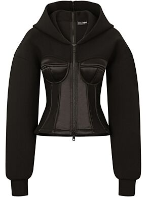 Hoodie with satin bustier details