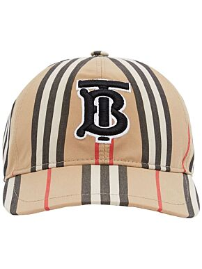 Monogram motif icon stripe baseball cap