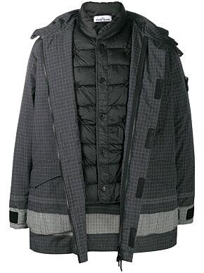 Check-print coat