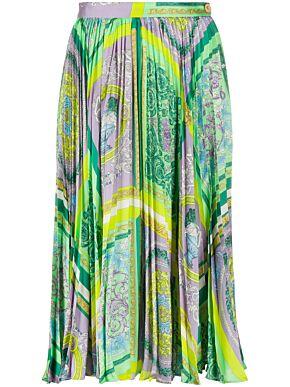 Barocco mosaic pleated midi skirt