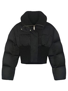 Short bi-material puffa jacket