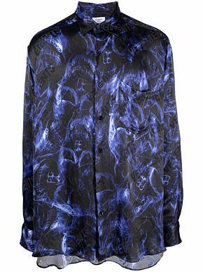 Blue skulls fluid shirt