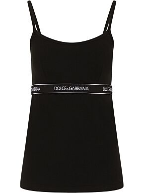 Vest with logoed strip