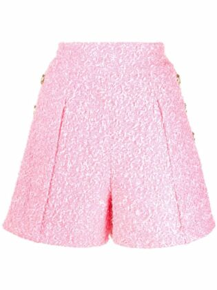 Embossed-button tweed shorts